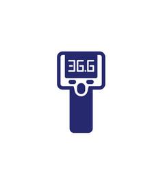 Infrared thermometer gun temperature check icon vector