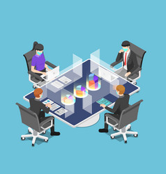 Isometric business team meeting with clear glass vector