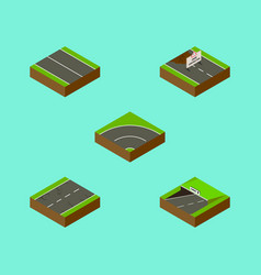 Isometric way set of repairs cracks flat and vector