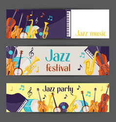 Jazz music party festival banners with musical vector