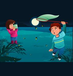 Kids catching fireflies vector
