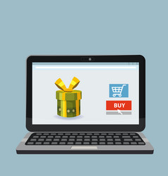 laptop noteebok with green gift box online vector image