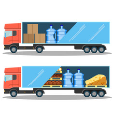 Large delivery truck with water bottles cardboard vector
