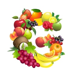 Letter G composed of different fruits with leaves vector image
