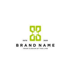 Letter x cross plus hospital medical logo design vector