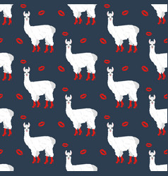 Llama in boots seamless pattern vector