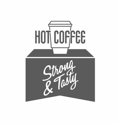 Logo with coffee cup and typing vector