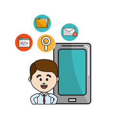 Man with smartphone technology tools icons vector