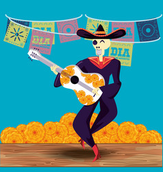 mariachi skull day of the dead party vector image