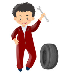 Mechanic in red uniform with tools vector