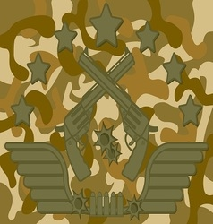 Military Logo Pistol Shooter vector image