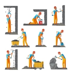 Miner People Flat Collection vector