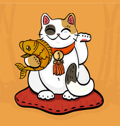 neko talisman cat beckoning wealth with golden vector image