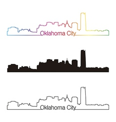 Oklahoma City skyline linear style with rainbow vector
