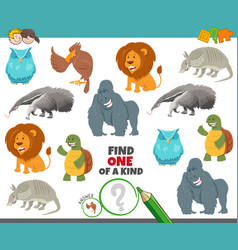 One a kind game for kids with cartoon animals vector
