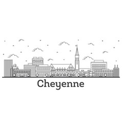 outline cheyenne wyoming city skyline with modern vector image