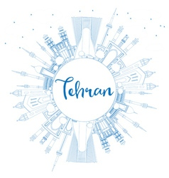 Outline Tehran Skyline with Blue Landmarks vector