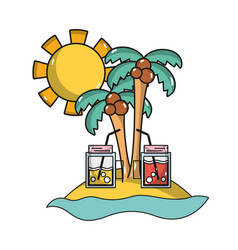 Palms with beverages in the beach on vacation vector