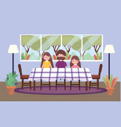 Parents and daughter dining room happy vector