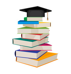 Pile books with square academic hat on top vector