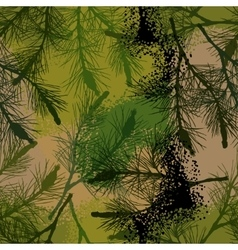 Pine branch seamless pattern camouflage summer vector image