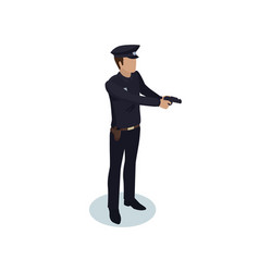 policeman order isometric miniature personage vector image
