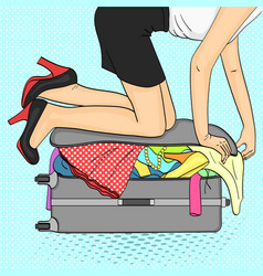 pop art backgroundtema travel and female vector image