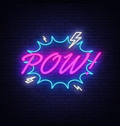 pow neon text comic lettering pow neon vector image