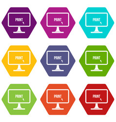 Print word on a computer monitor icon set color vector