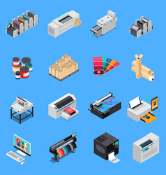 Printing house isometric set vector