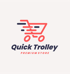 Quick trolley fast shop store delivery logo icon vector