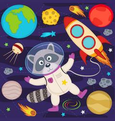 Raccoon in space vector