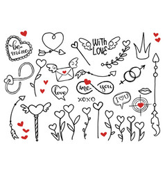 rough doodle elements for valentines day vector image