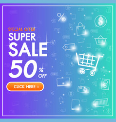 sale discount banner background up to 50 percent vector image
