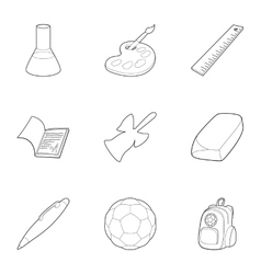 Schooling icons set outline style vector