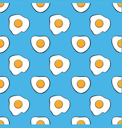 Seamless breakfast pattern with fried eggs vector