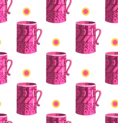 Seamless pattern with cartoon mugs-8 vector image