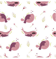 seamless pattern with cute whale shark and manatee vector image