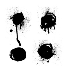 set black and white ink splash blots vector image