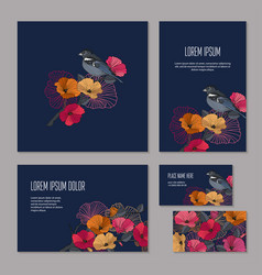 Set of floristic elements of corporate identity vector