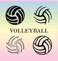 Set of volleyball signs vector