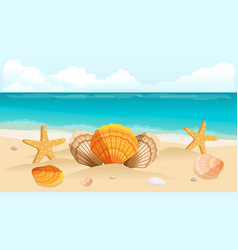Shell on beach sunburst lettering vector