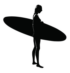 Silhouette of a woman with surfboard white vector