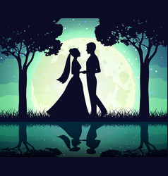 silhouettes of the bride and groom on the moon vector image