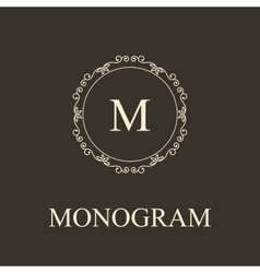 Simple monogram design template Elegant lineart vector image