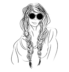 Sketch hippie girl with glasses and pigtails vector