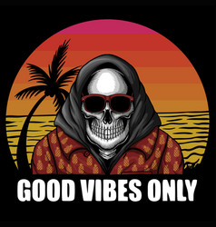 skull beach vacation vector image