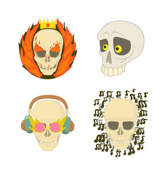 Skull icon set cartoon style vector