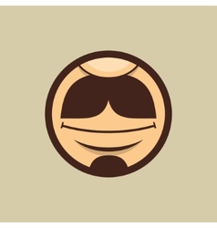 Smiling Mouth with Moustache in Circle vector image