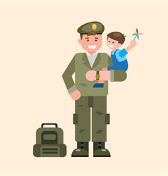 soldier carrying children soldier coming home vector image